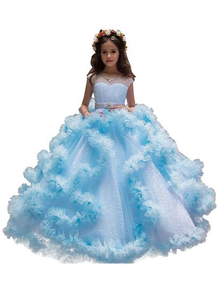 Milanoo Vestidos de niña de las flores Cuello joya Sin mangas Vestidos formales de desfile para niños con gradas