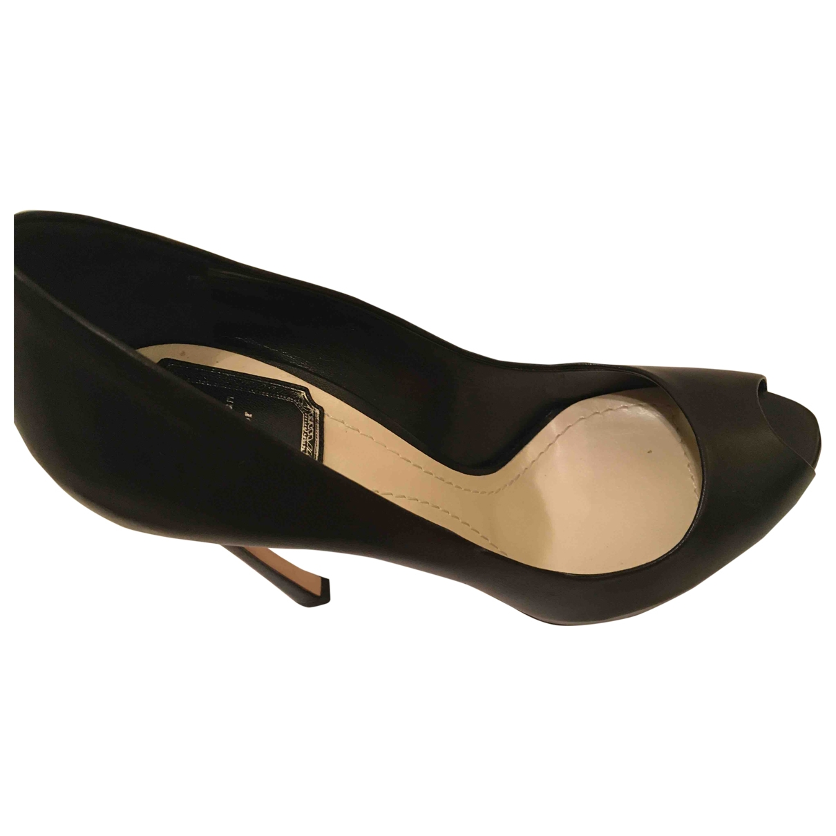 Dior Miss Dior Peep Toes Black Leather Heels for Women 38 EU