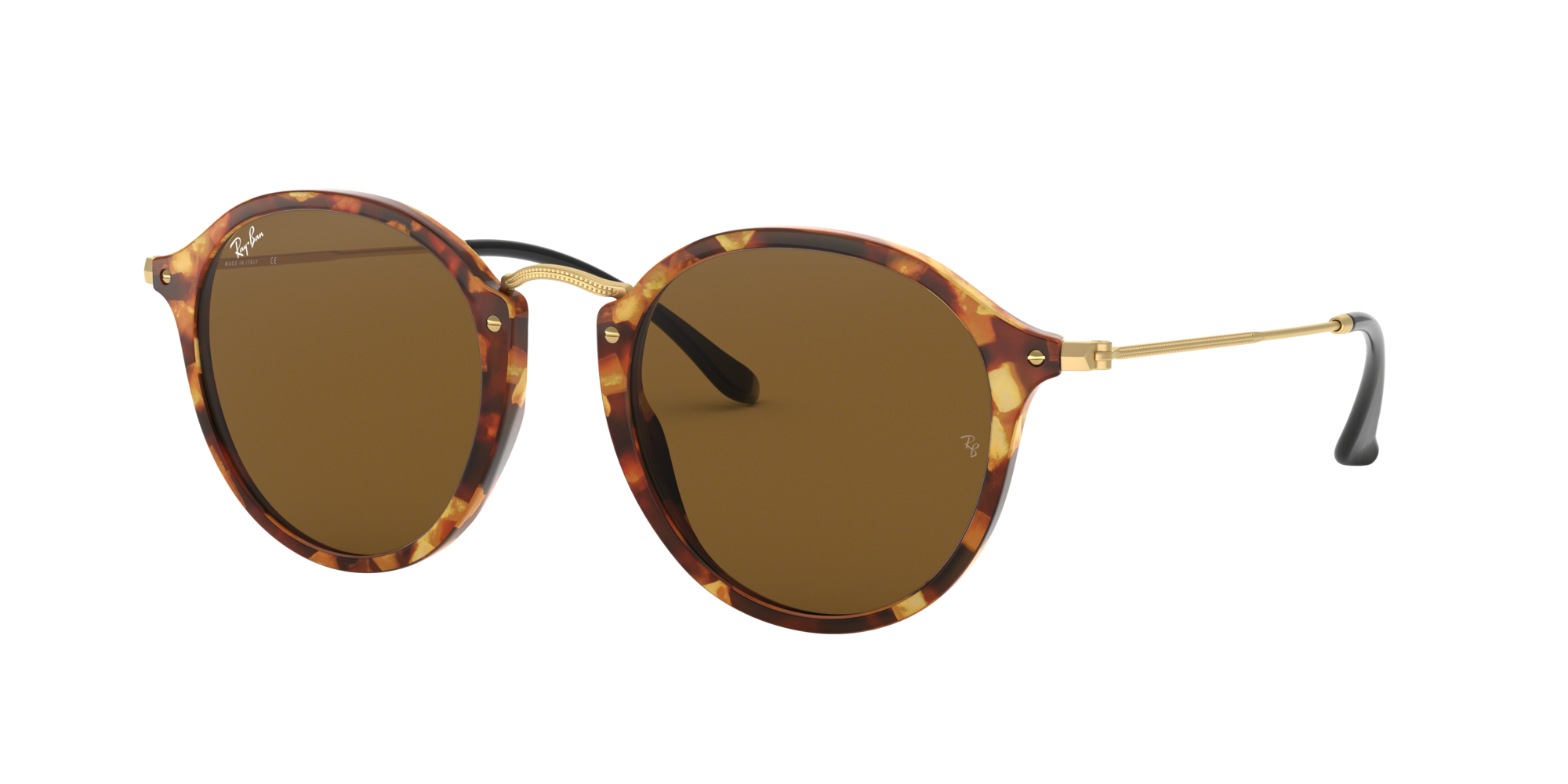 Ray Ban Unisex  RB2447 ROUND FLECK -  Frame color: Habana, Lens color: Marron, Size 52-21/145