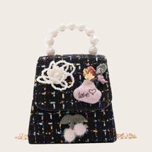Girls Faux Pearl Handle Satchel Bag