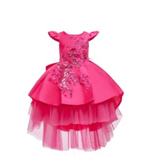 Girls Pearls Appliques High Low Gown Dress