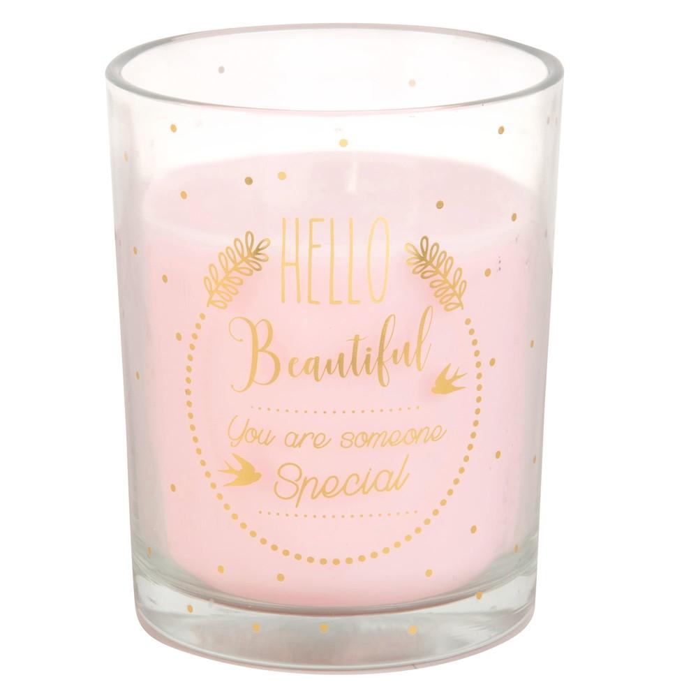 Rosa Kerze im Glas mit goldenem Aufdruck