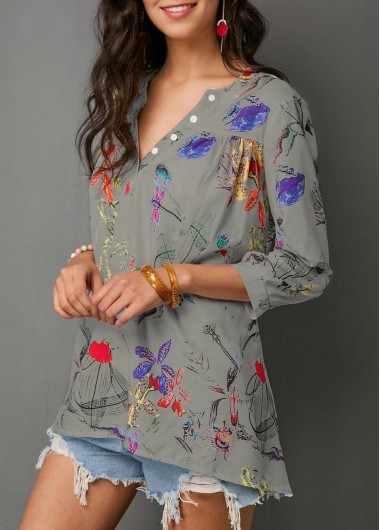 Women'S Grey Floral Printed Split Neck Three Quarter Sleeve Tunic Blouse Longline Casual Spring Top By Rosewe - M