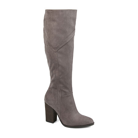 Journee Collection Womens Kyllie Extra Wide Calf Stacked Heel Dress Boots, 12 Medium, Gray