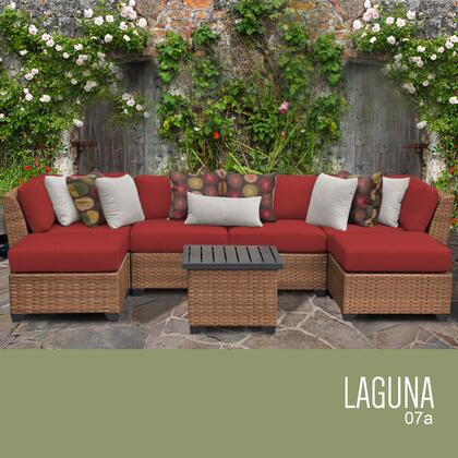 LAGUNA-07a-TERRACOTTA Laguna 7 Piece Outdoor Wicker Patio Furniture Set 07a with 2 Covers: Wheat and