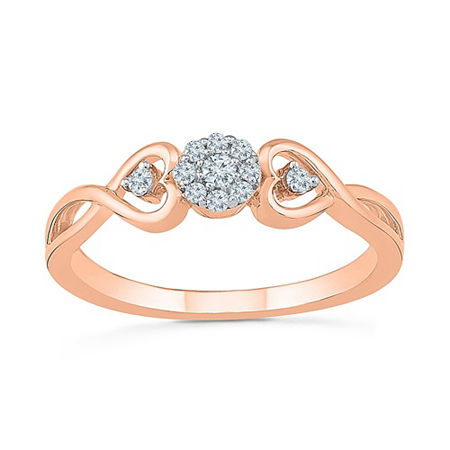 Promise My Love Womens 1/10 CT. T.W. Genuine White Diamond 10K Rose Gold Promise Ring, 6 , No Color Family