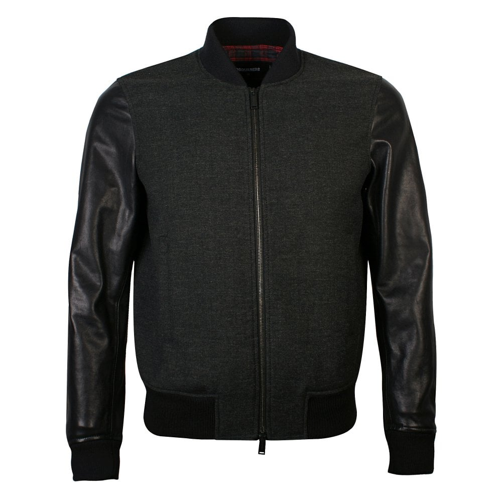 DSquared2 Charcoal Leather Sleeved Bomber Jacket Colour: BLACK, Size: L