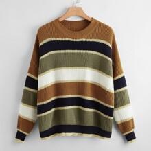 Plus Colorblock Drop Shoulder Sweater
