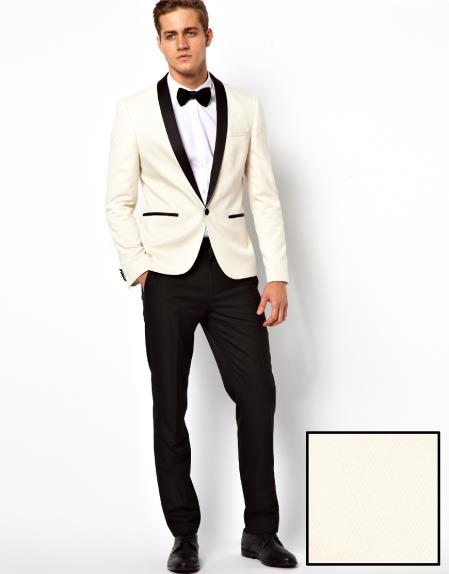 Ivory Cream Off White Shawl Collar Tuxedo Dinner Jacket