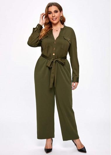 Double Pocket Plus Size Split Neck Jumpsuit - 3X