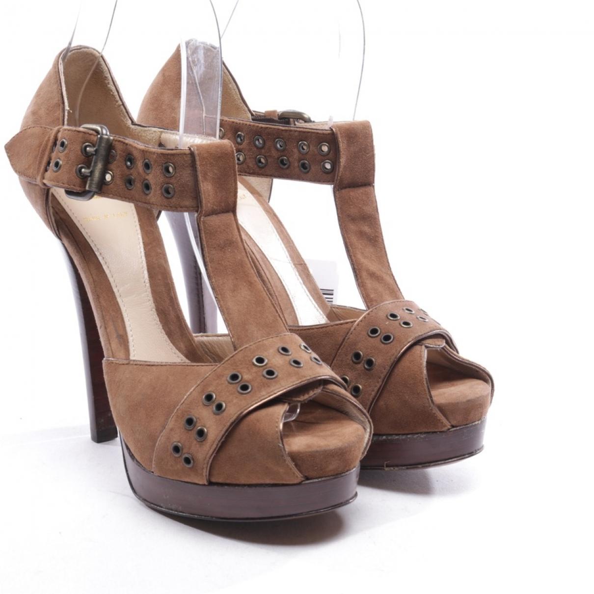 Fendi - Sandales   pour femme en suede - marron