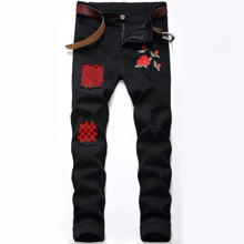 Guys Rose Embroidery Plaid Jeans