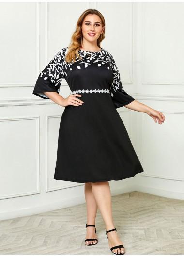Geometric Print Round Neck Plus Size Dress - 2X