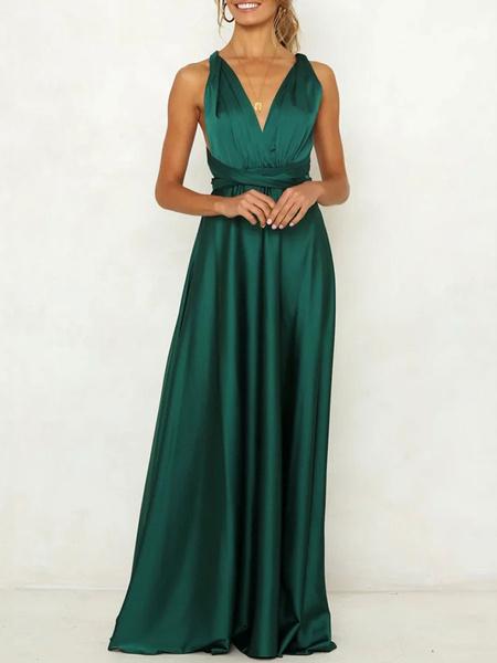 Milanoo Vestidos de fiesta para mujer Vestido formal largo sin espalda con cordones y cuello en V verde oscuro