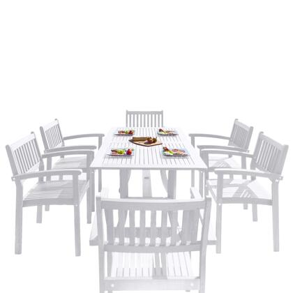 Bradley Collection V1337SET26 7-Piece Outdoor Patio Dining Set with Rectangular Table and 6 Stacking Chairs in