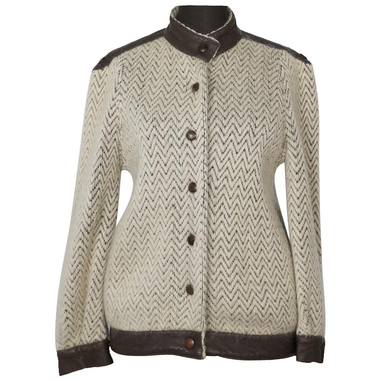 Non Signé / Unsigned Epaulettes Beige Wool Knitwear for Women One Size International
