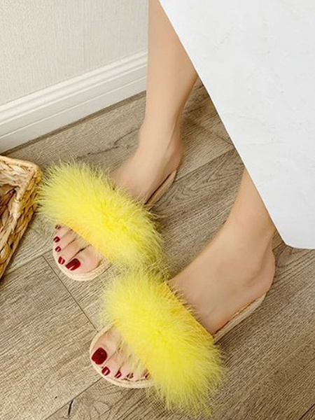 Milanoo Women Flat Slides Yellow Open Toe Feather Detail Sandal Slippers