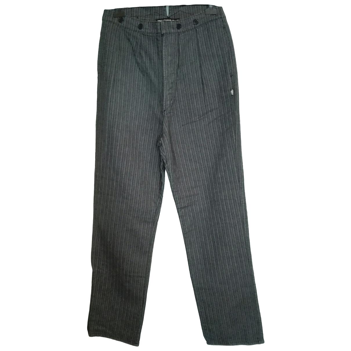 Jean Paul Gaultier \N Grey Cotton Trousers for Women 42 FR