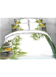 Bamboo Cobblestone and Water Printed 4-Piece 3D Bedding Sets/Duvet Covers