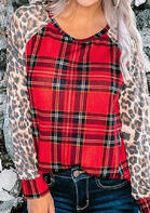 Leopard Buffalo Plaid Splicing O-Neck Blouse