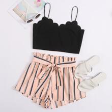 Scallop Trim Crop Cami Top & Belted Striped Shorts Set