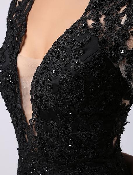 Milanoo Black Prom Dresses 2020 Long Backless Evening Dress Illusion Lace Applique Deep V Neck Short Sleeves Keyhole Buttons Back Court Train  wedding