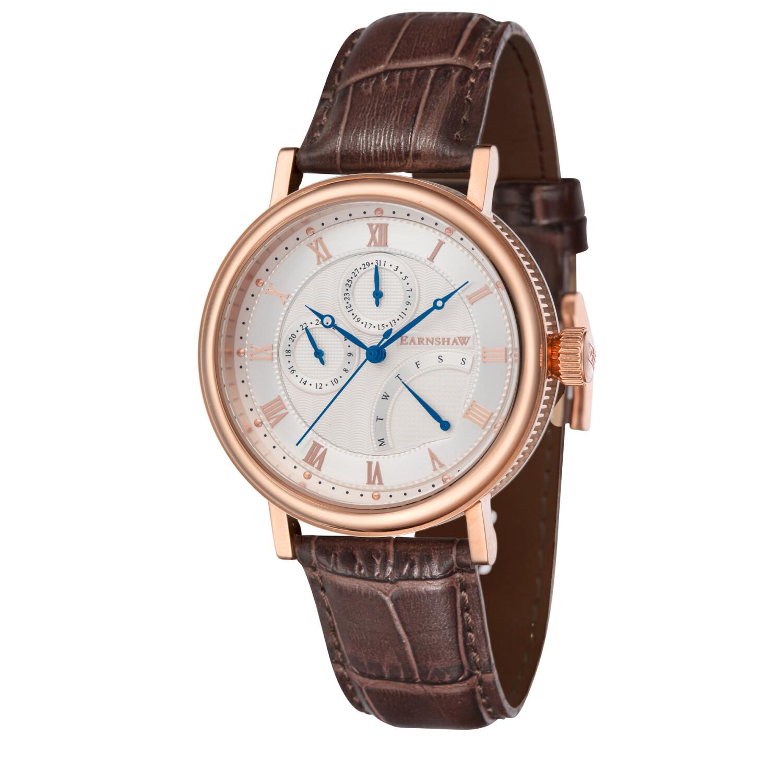 Thomas Earnshaw Men's Beaufort Multi-Function Retrograde ES-8101-06 Silver Leather Japanese Quartz Fashion Watch