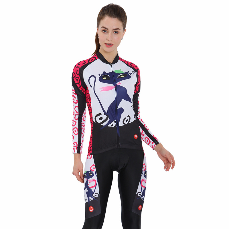 Little Cat 3D Padded Pants Road Bike Comfortable Women's Cycling Jersey