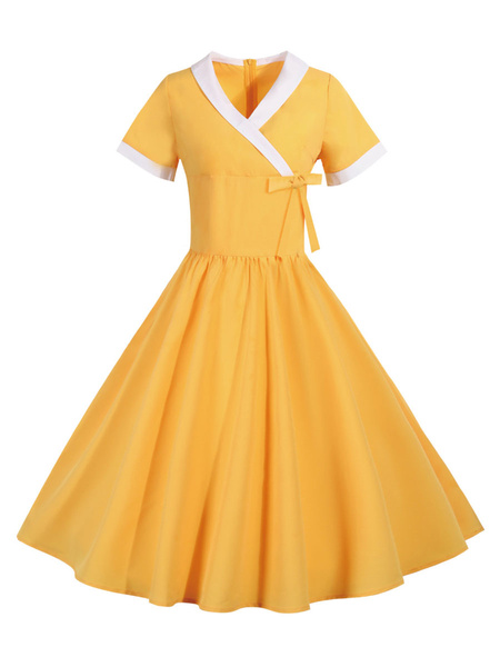 Milanoo Vintage Summer Dress 1950s Yellow Two Tone Short Sleeves Swing Dress