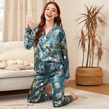 Allover Floral Satin Pajama Set