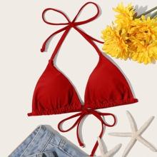 Top bikini triangulo halter con cordon