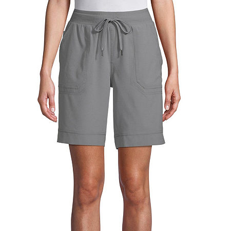St. John's Bay Womens Mid Rise Adjustable Waist Pull-On Short, Small , Gray