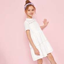 Girls Guipure Lace Trim Frilled Smock Dress