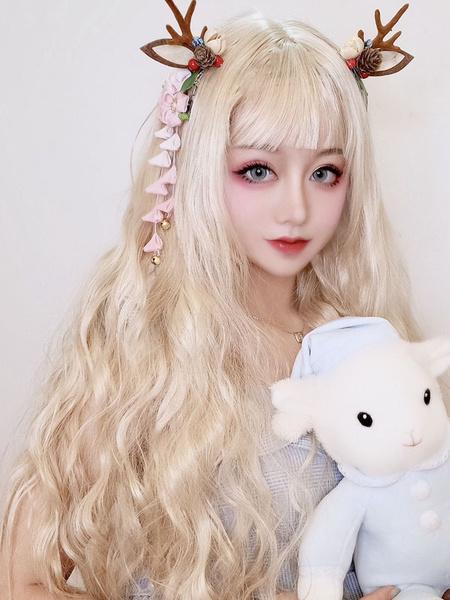 Milanoo Pelucas de lolita dulce Pelucas de cabello largo y rizado rizado rubio