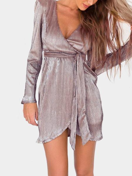 Yoins Zipper Wrap Style Slit Hem Dress