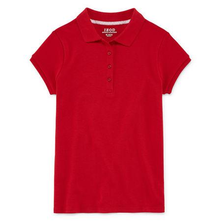 IZOD Little & Big Girls Short Sleeve Stretch Polo Shirt, 10-12 , Red