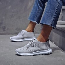 Mesh Panel Lace Up Sneakers