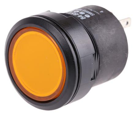 EAO Single Pole Single Throw (SPST) Momentary Yellow LED Push Button Switch, IP67, 22.5 (Dia.)mm, Panel Mount, 24V dc