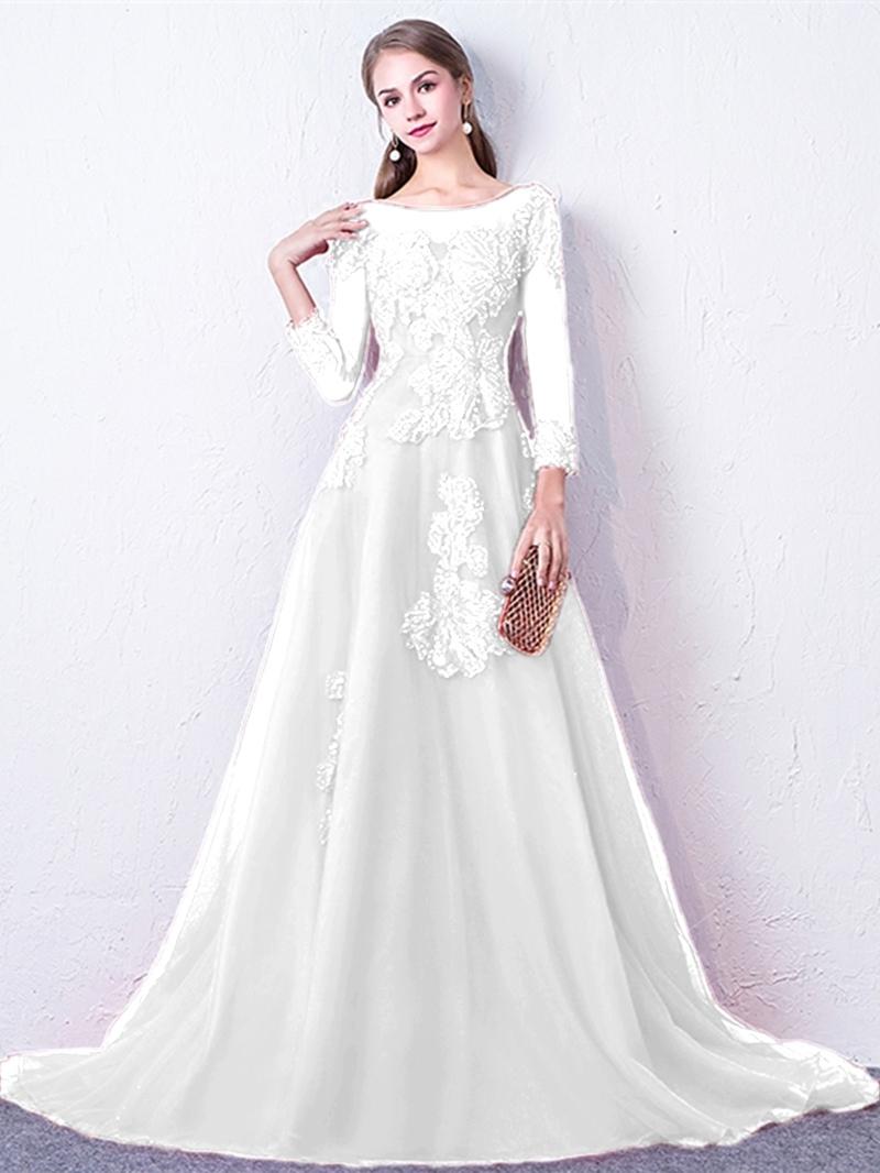Ericdress A Line Long Sleeve Evening Dress With Applique