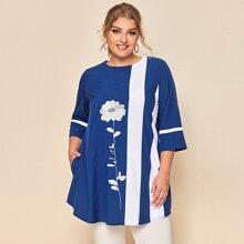 Camisa panel en contraste con bordado floral