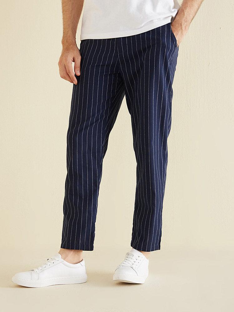 Mens Plain Striped Elastic Waist Side Pockets Casual Loose Pants
