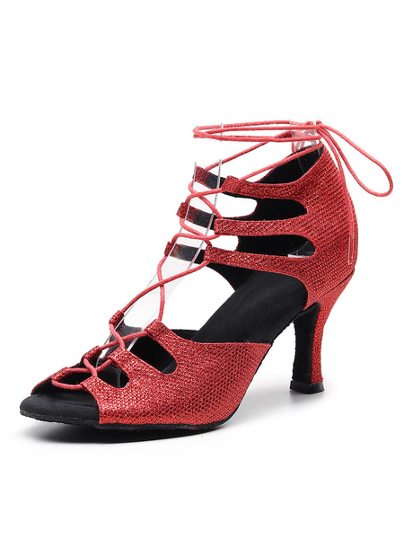 Milanoo Zapatos de baile latino para mujer Zapatos de salon con cordones y lentejuelas rojas con cordones