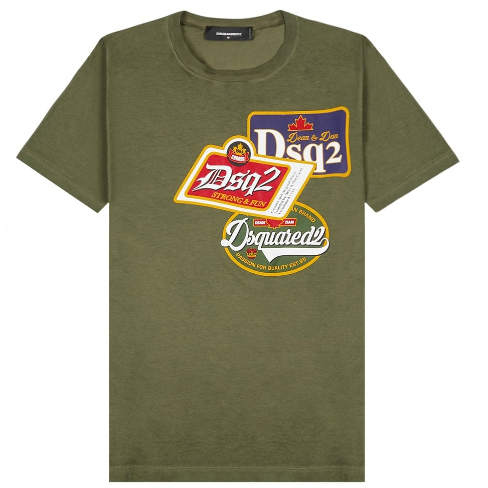 DSquared2 DSQ2 Logo T-Shirt Colour: GREEN, Size: EXTRA EXTRA EXTRA LARGE