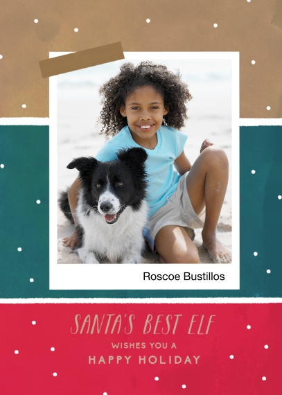 Holiday Photo Cards 5x7 Cards, Premium Cardstock 120lb with Elegant Corners, Card & Stationery -Santas Best Elf
