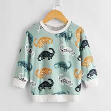 Toddler Boys Dinosaur Print Raglan Sleeve Sweatshirt