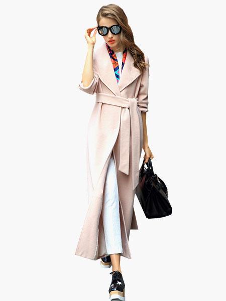 Milanoo abrigo mujer color albaricoque Cuello convertible de mezclada de lana Color liso con manga larga con botones de talla muy grande Boton cubiert