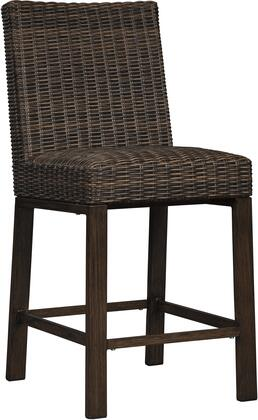 Paradise Trail Collection P750-130 Barstool (Set of 2) with High Density Foam Seat  Footrest  All-Weather Resin Wicker and Aluminum Frame in Medium