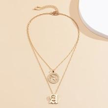 2 Stuecke Halskette mit Buchstaben Anhaenger