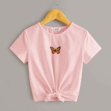 Girls Butterfly Print Tie Hem Tee