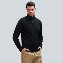 Men Quarter Zipper High Neck Sweater